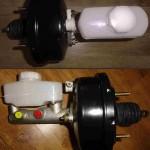 Fotografie je rozdělena na dvě části. V první je zobrazen posilovač brzd s hlavním brzdovým válcem v pohledu shora, ve duhé části pak z boku.
